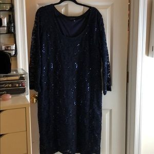 Beautiful Navy Sequin and Lace dress. New 24W